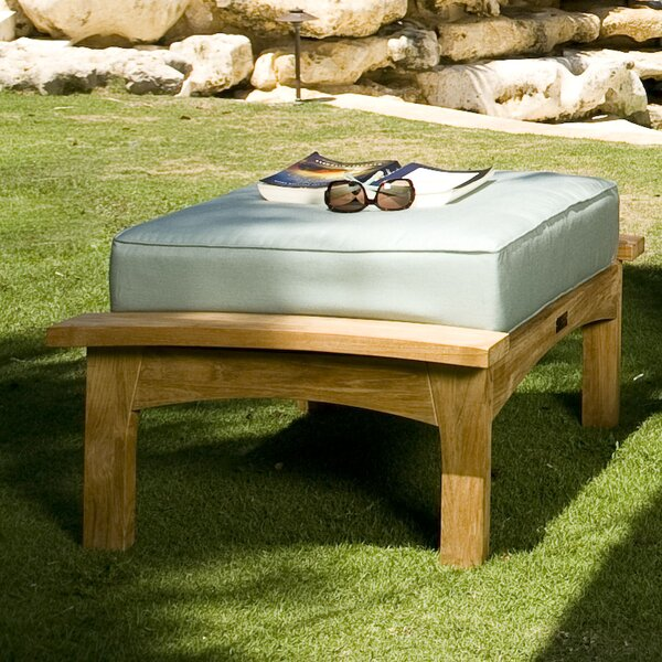 Augusta Outdoor Teak Ottoman with Cushion by Douglas Nance