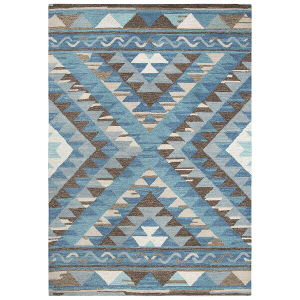 Roreti Hand-Tufted Wool Blue Area Rug by Bungalow Rose