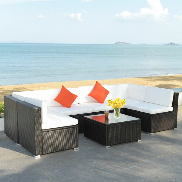 Winckler 7 Piece Rattan Sectional Seating Group with Cushions by Ebern Designs