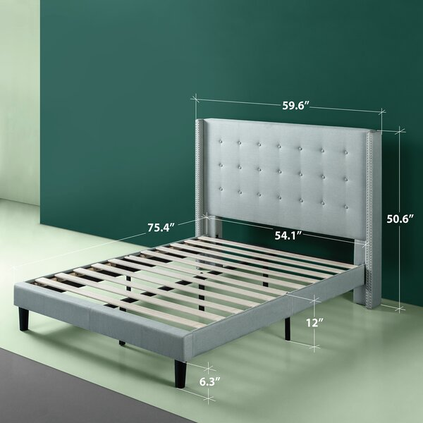 Alexio Upholstered Wingback Platform Bed Frame by Alcott Hill