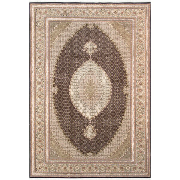 Tabriz Hand-Knotted Wool/Silk Brown/Beige Area Rug