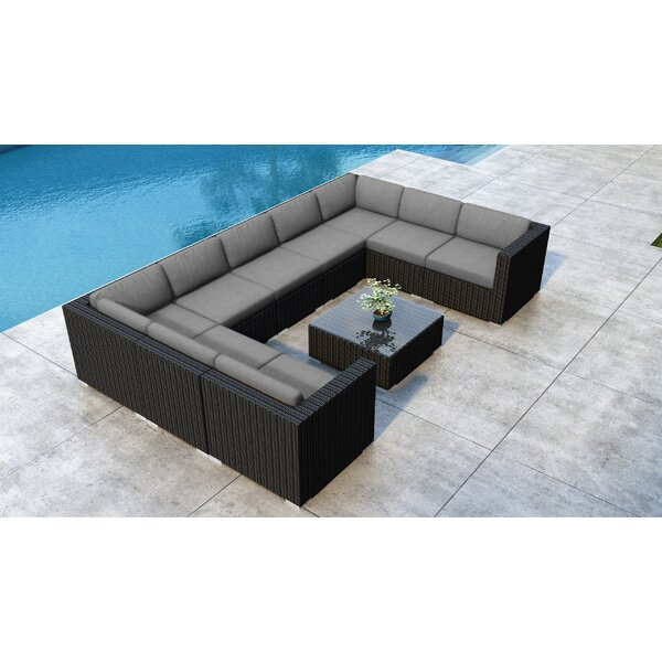Glendale 9 Piece Rattan Sectional Seating Group with Sunbrella Cushions by Everly Quinn Everly Quinn