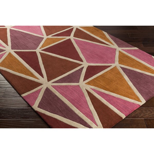 Vaughan Hand-Tufted Pink/Orange Area Rug by Wrought Studio