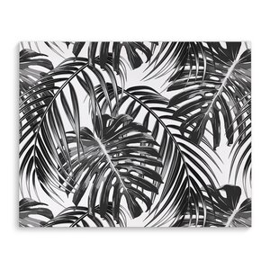 Tropical Black Graphic Art on Wrapped Canvas by KAVKA DESIGNS