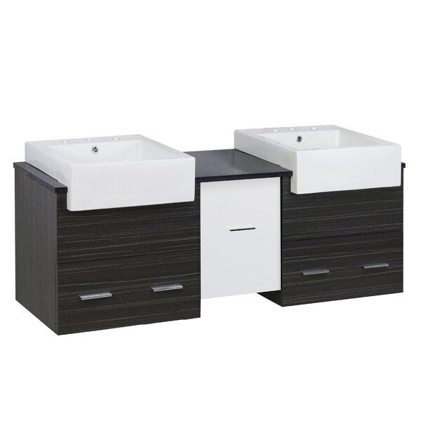 Hindman 60 Wall-Mounted Double Bathroom Vanity Set by Royal Purple Bath Kitchen