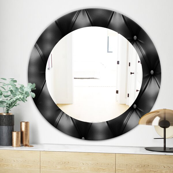 Leather Print IV Modern Frameless Wall Mirror