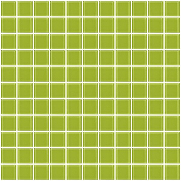 1 x 1 Glass Mosaic Tile in Glossy Lime green by Susan Jablon