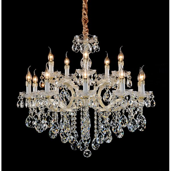 Dwight 15 - Light Candle Style Tiered Chandelier by Rosdorf Park Rosdorf Park
