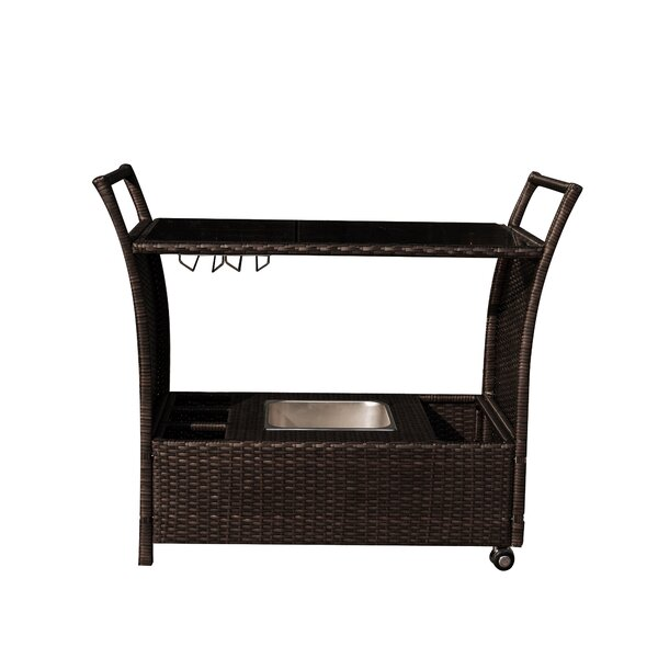 Weatherhill Rolling Wicker Bar Serving Cart by Bay Isle Home Bay Isle Home
