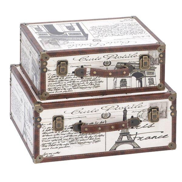 2 Piece Wood Leather Decorative Box Set by Cole & Grey
