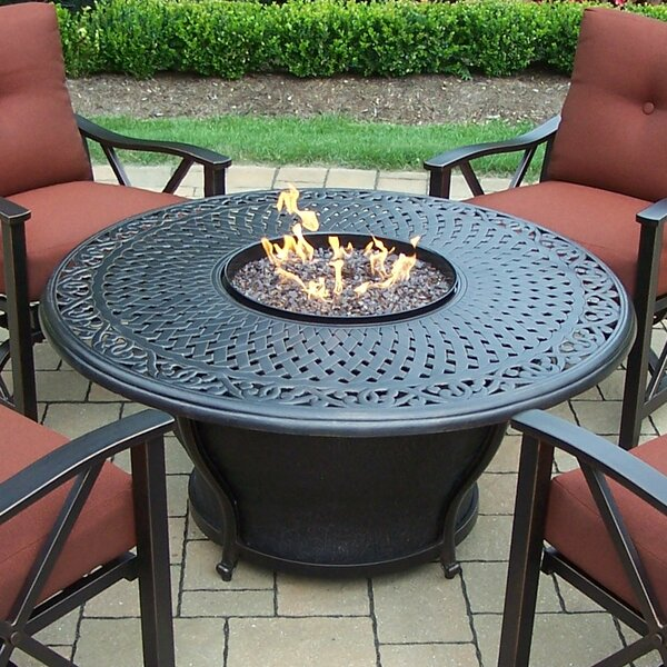 Charleston Aluminum Gas Fire Pit Table and Chairs by Oakland Living