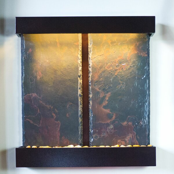 Water Wonders Copper Slate Duet Falls Fountain with LED Light by Bluworld