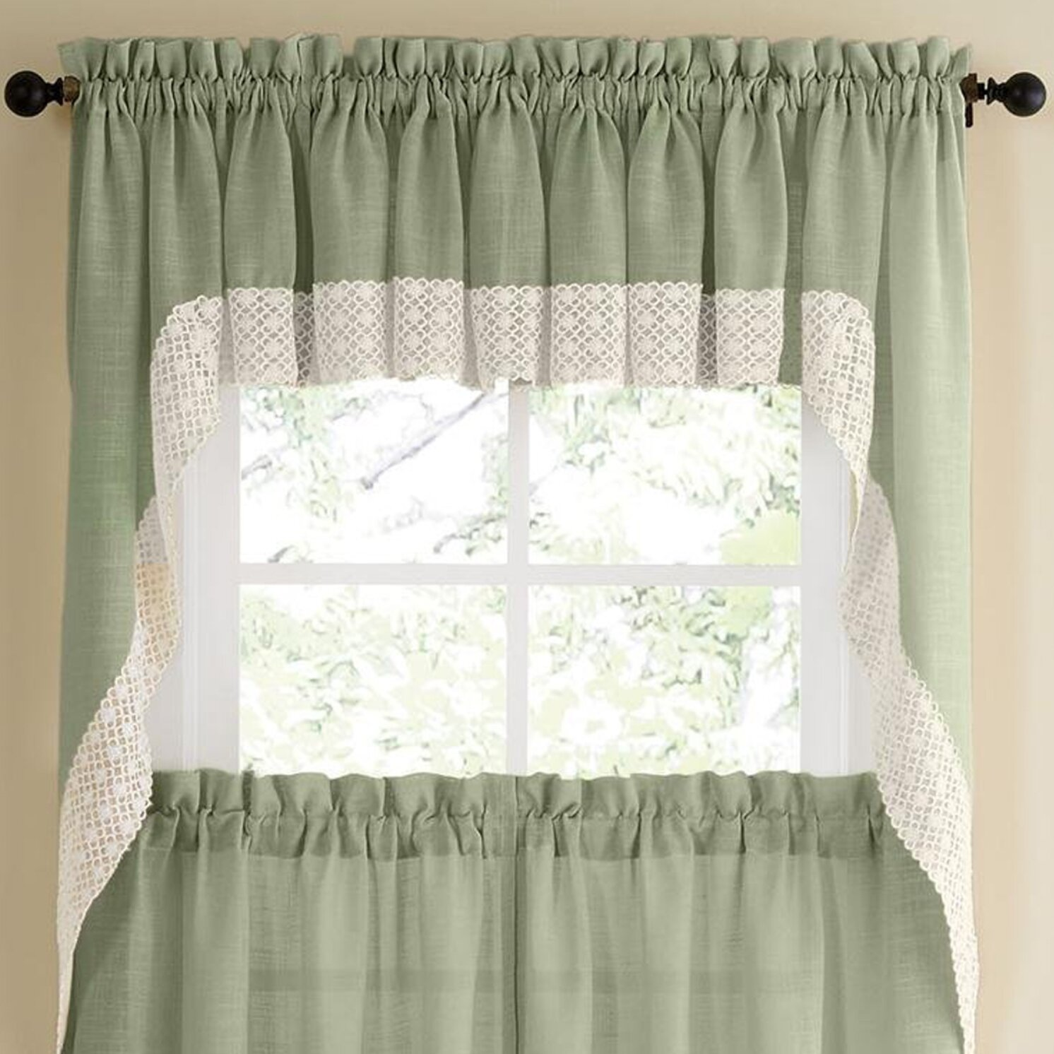 Sweet Home Collection Salem Kitchen Swag Curtain & Reviews | Wayfair