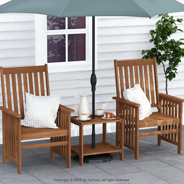 Jago Tioman Hardwood Outdoor Mississippi 3 Piece Seating Group by Rosecliff Heights