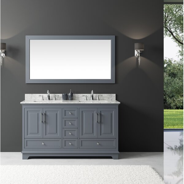 Orin 60 Double Bathroom Vanity Set with Mirror by Rosecliff Heights