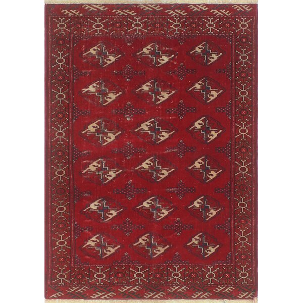One-of-a-Kind Brook Semi Antique Turkman Hand-Knotted Blue Area Rug by Isabelline