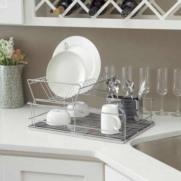 2 Tier Stainless Steel Dish Rack By Home Basics.