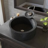 Honed Basalt Stone Circular Vessel Bathroom Sink with Faucet by MR Direct