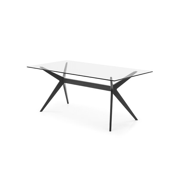 Kent - Table - Transparent Tempered Glass Top - Matt Black Lacquer Ash Wood Finish Frame and Legs by Calligaris