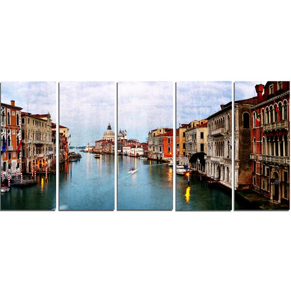Retro Style Grand Canal at Sunset 5 Piece Wall Art on Wrapped Canvas Set by Design Art