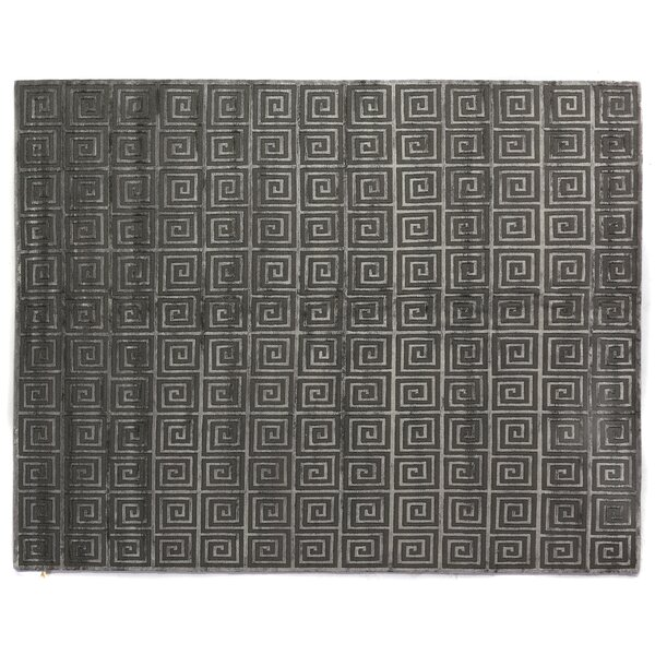 Greek Key Greco Hand-Knotted Wool Dark Gray Area Rug by Exquisite Rugs
