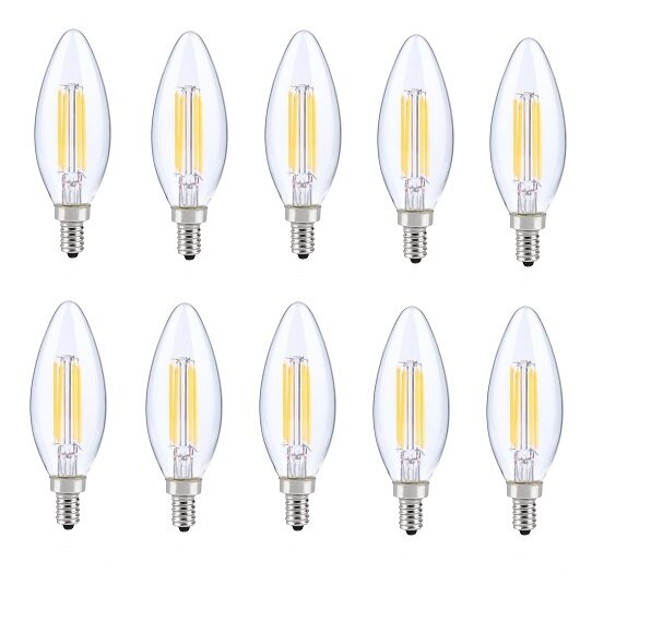 6W E12 Dimmable LED Candle Light Bulb (Set of 10) by Elegant Lighting