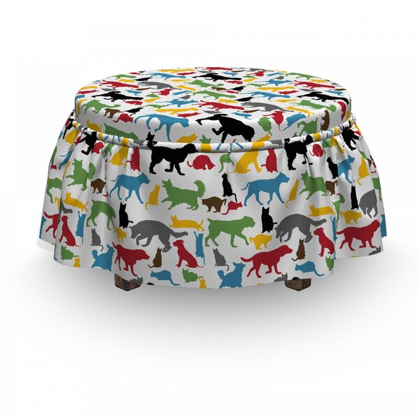 Cats Cats And Dogs 2 Piece Box Cushion Ottoman Slipcover Set By East Urban Home