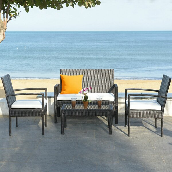 Biddle 4 Piece Rattan Sofa Seating Group by Breakwater Bay