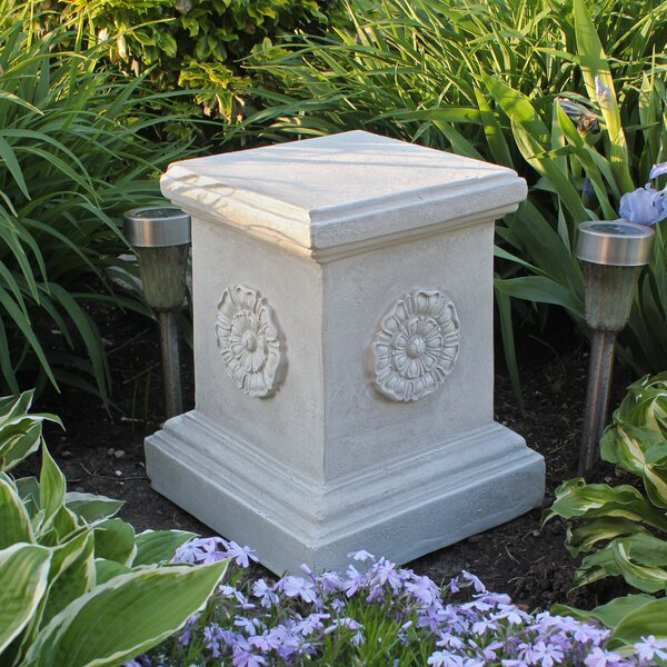 English Rosette Garden Sculptural Large Plinth By Design Toscano.