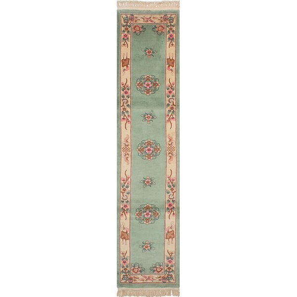 One-of-a-Kind Hamblin Hand-Knotted Wool Light Green Indoor Area Rug by Isabelline