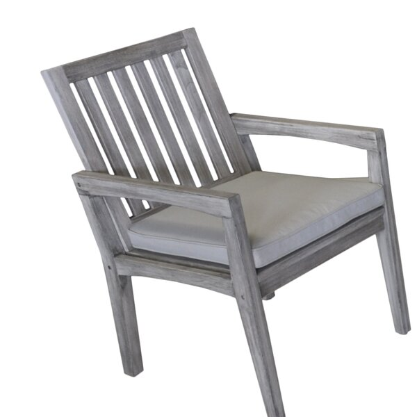 Jessica Casual Teak Patio Dining Chair with Cushion by Gracie Oaks