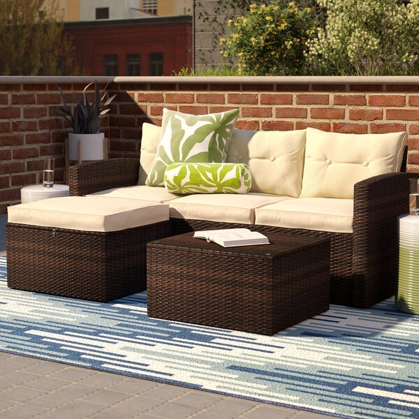 Arlington 3 Piece Rattan Sectional Seating Group with Cushions Sol 72 Outdoor W000752491