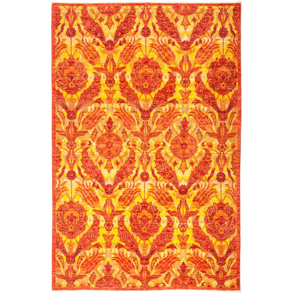 One-of-a-Kind Heilman Hand Knotted Wool Orange Area Rug by Bloomsbury Market