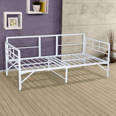 Zella Easy Set Up Metal Twin Daybed Zipcode Design? Color: White