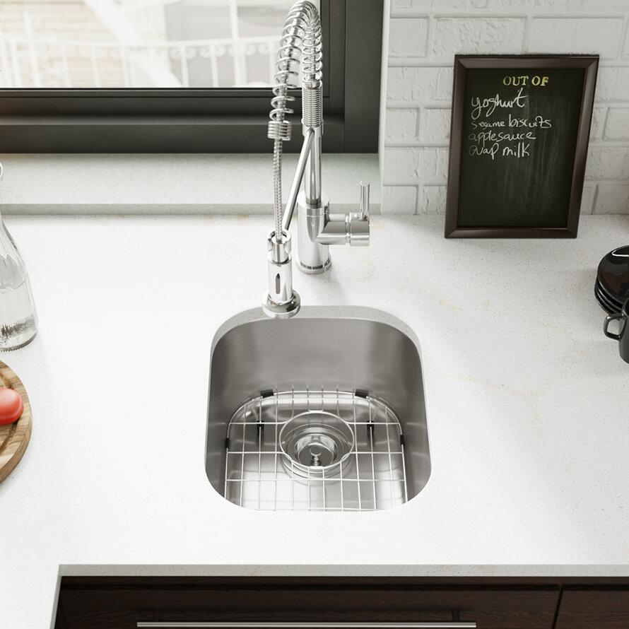 Renébyelkay Stainless Steel 15 L X 19 W Undermount Bar Sink With