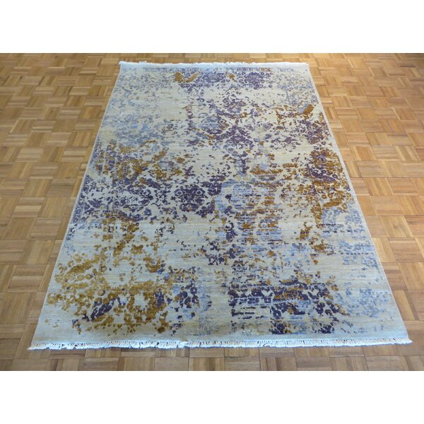 One-of-a-Kind Pasuruan Modern Hand-Knotted Wool Ivory Area Rug by Bungalow Rose