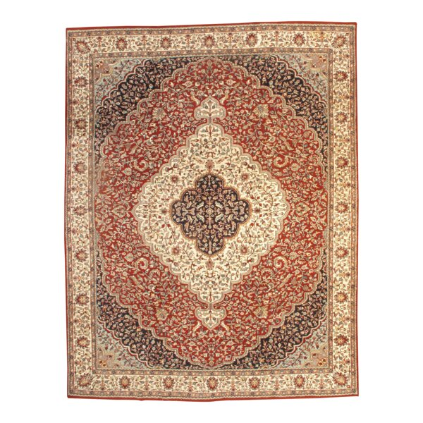 Fine Tabriz Hand Knotted Wool Red/Ivory Area Rug by Pasargad NY