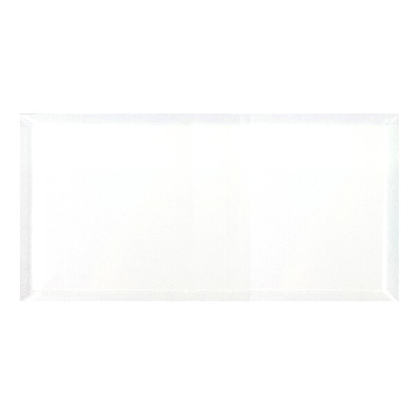 Frosted Elegance 8 x 16 Beveled Glass Tile in Glossy White by Abolos