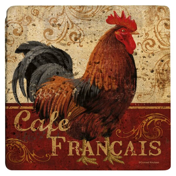 Cafe Francis Rooster Travertine Ambiance Trivet by Thirstystone