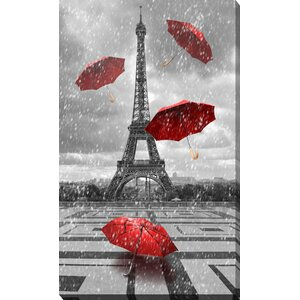 'Four Umbrellas, Paris' Graphic Art on Wrapped Canvas by Picture Perfect International