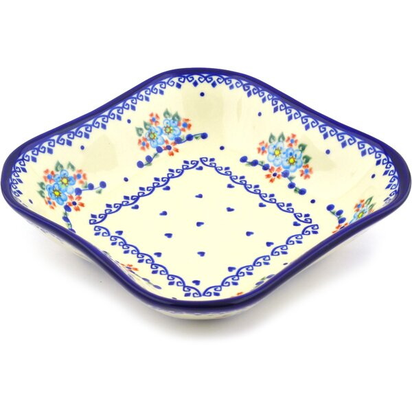 Hearts And Flowers Square Serving Bowl by Polmedia