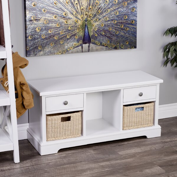 Lewisville Wood Drawer and Cubby Storage Bench