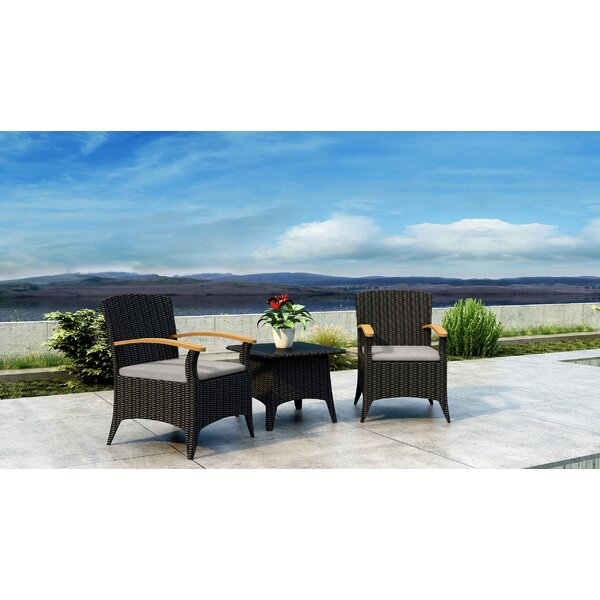 Aisha 3 Piece Rattan Sunbrella 2 Person Seating Group with Cushions Set by Brayden Studio