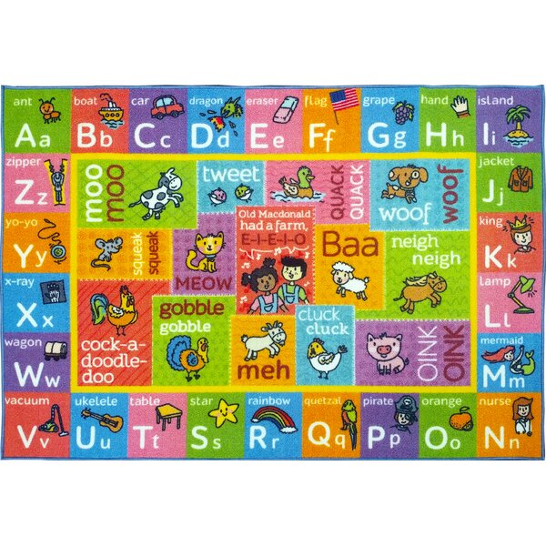 Perreira ABC Alphabet Green/Pink Indoor/Outdoor Area Rug By Zoomie Kids