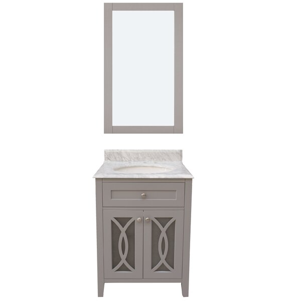 Margaret Garden 24 Single Bathroom Vanity with Mirror by NGY Stone & Cabinet