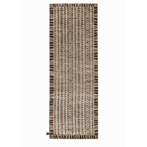 Runner Grit and Ground Geometric Hand-Knotted Wool Gray Area Rug