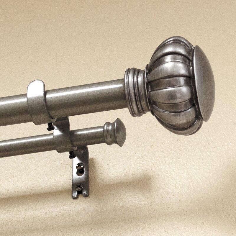 Botero Knob Drapery Double Curtain Rod And Hardware Set