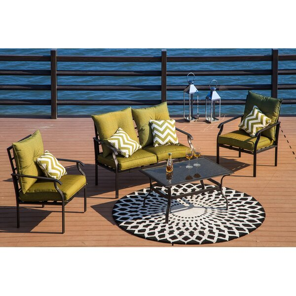 Gustavson 4 Piece Sofa Seating Group with Cushions by Alcott Hill