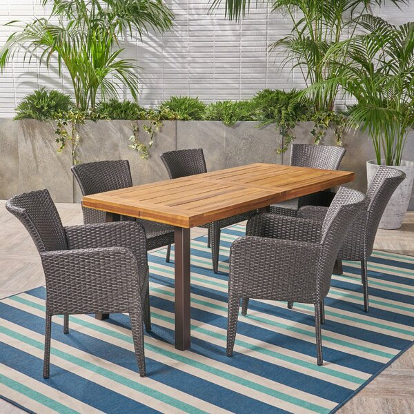 Sarramea Outdoor 7 Piece Dining Set by Bungalow Rose