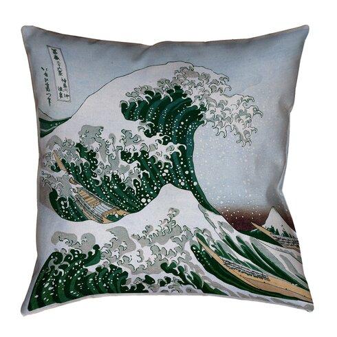 Throw Pillow Zipper : Latitude Run Raritan The Great Wave Square Concealed Zipper Throw Pillow Wayfair